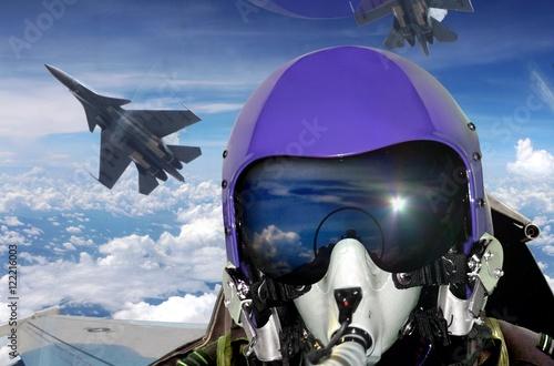 Wallpaper Mural Jet fighter pilot cockpit view