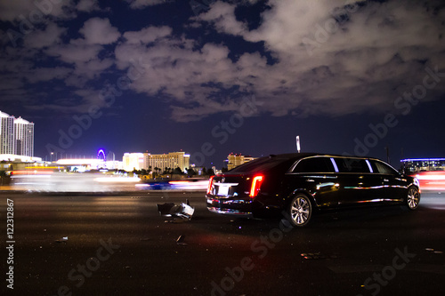 Canvas Print A limousine crashed in an accident in Vegas