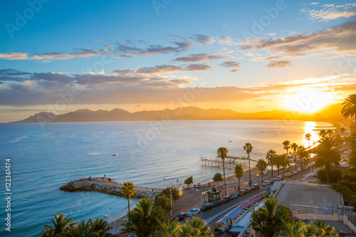 Cannes bay French riviera at sunset. France. фототапет