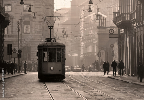 Historical tram in Milan old town, Italy