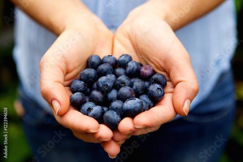 Handful of fresh blueberries Fotobehang