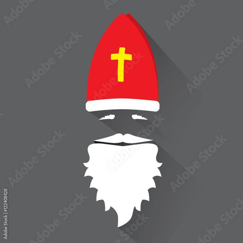 Foto Flat Design Vector Saint Nicholas on black background