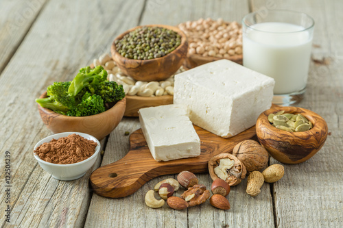 Selection vegan protein sources on wood background Fototapeta
