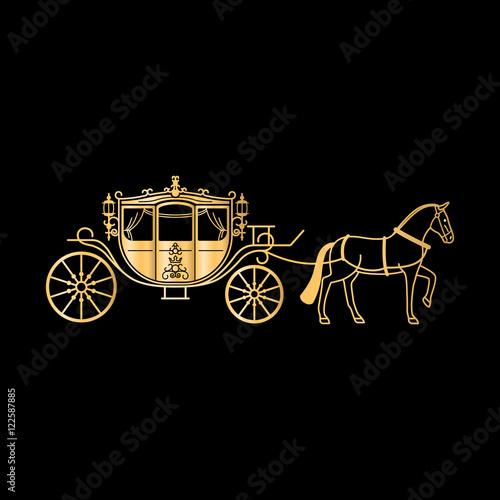 Fotografía Carriage golden silhouette with horse