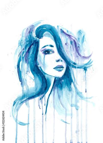 splatter watercolor portrait of a girl