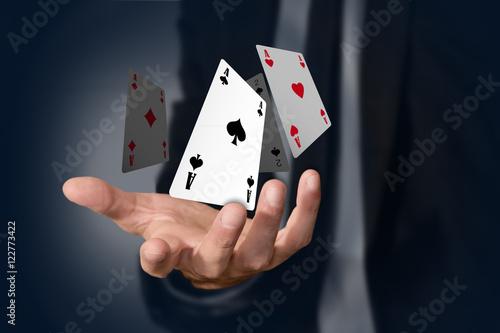 mano, poker, assi, gioco, carte, magia Poster Mural XXL