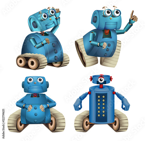 Canvas Print Blue robots doing different things