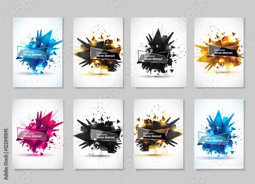 Obraz na plátne Vector illustration, abstract object, explosion substance matter