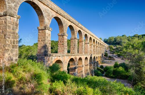 Two level archade of roman aqueduct near Tarragona, Spain