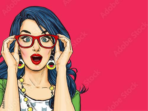 Fototapeta Surprised Pop Art girl  in glasses