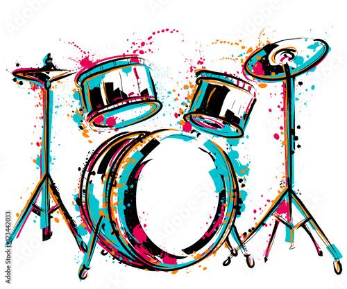 Obraz na plátně Drum kit with splashes in watercolor style