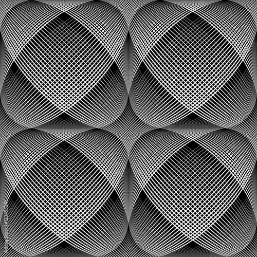 Seamless meshy op art pattern. 3D illusion.