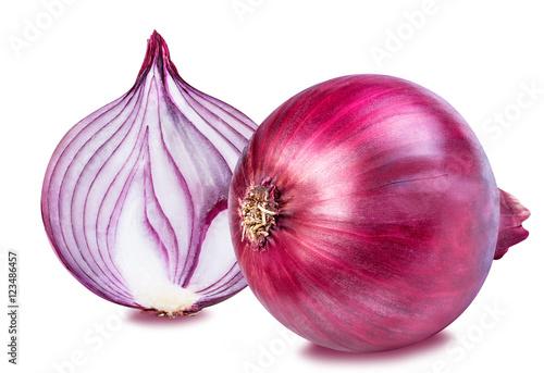Carta da parati Red onion isolated on white