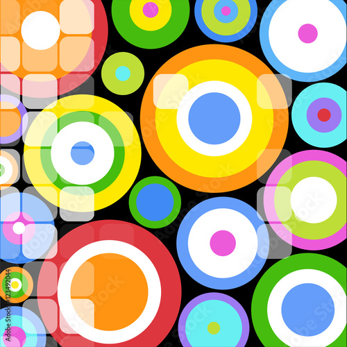 Bright Colored Circles Mosaic Background #123492044