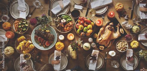 Obraz na plátně Thanksgiving Celebration Table Setting Concept