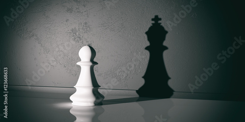 Canvastavla Chess pawn and king shadow. 3d illustration
