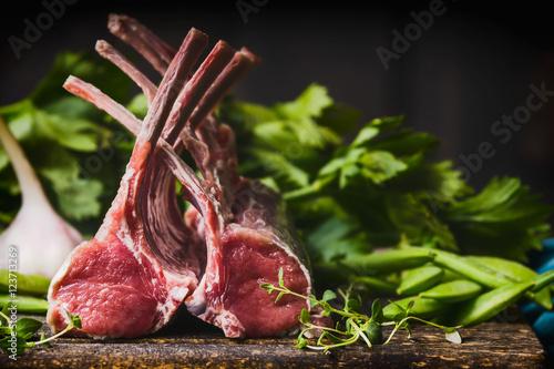 Fotografie, Obraz Raw racks of lamb