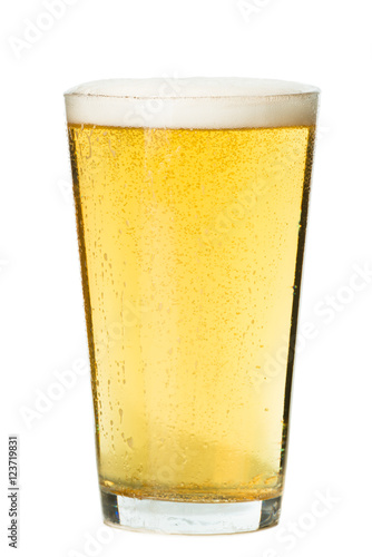 Wallpaper Mural PInt glass of light beer pilsner lager isolated on white background for use alon