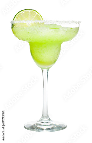 Cuadros en Lienzo Frozen Margarita Cocktail with Lime and Salted Rim Isolated on White Background