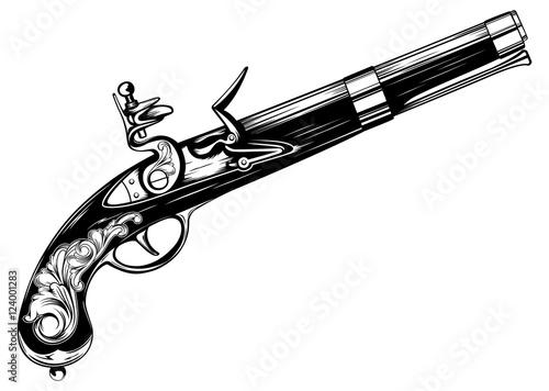 Fototapeta old flintlock pistol