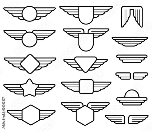 Wing army emblems, aviation badges, pilot labels line vector set