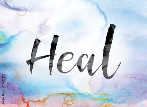 Leinwand Poster Heal Colorful Watercolor and Ink Word Art