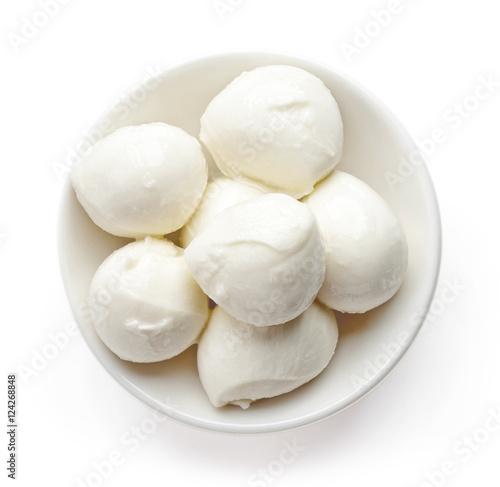 Bowl of mozzarella balls from above