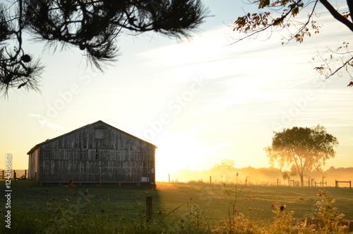Sunrise behind a barn on a foggy morning Poster Mural XXL