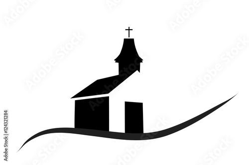 Vector silhouette of a church.