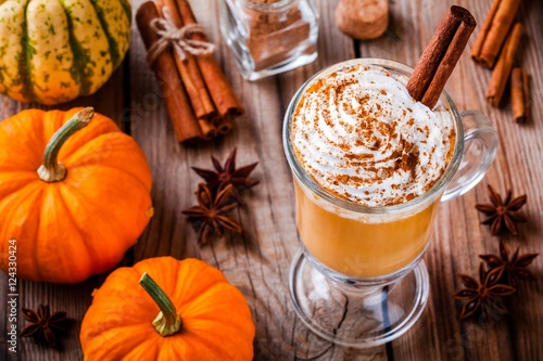 Pumpkin spice latte with whipped cream