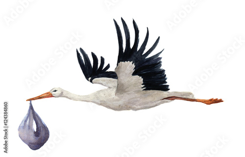 Photo Watercolor hand painted flying white stork with boy baby