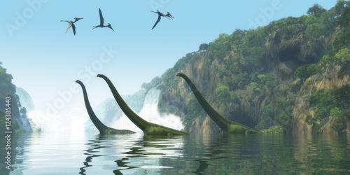 Wallpaper Mural Mamenchisaurus Dinosaur Foggy Day - Two Mamenchisaurus dinosaur adults escort a youngster across a river as Pterodactylus birds search for fish prey