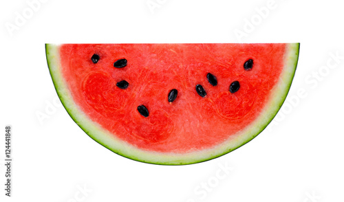 A half of fresh watermelon isolated on white background.