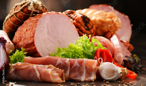 Canvas Print Meat products including ham and sausages