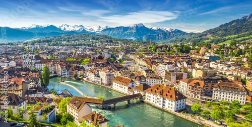 Stampa su Tela Pilatus mountain and historic city center of Lucerne, Central Switzerland