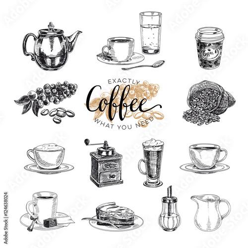 Leinwand Poster Vector hand drawn coffee set. Sketch