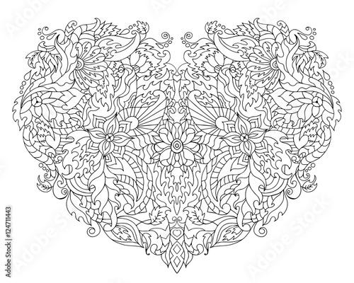Ręcznie Rysowane Serce Kwiatowe