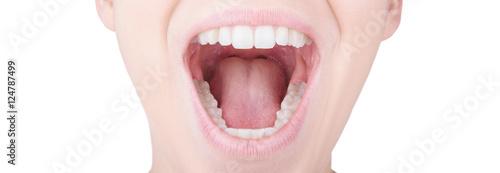Obraz na płótnie Bocca aperta con denti bianchi e lingua