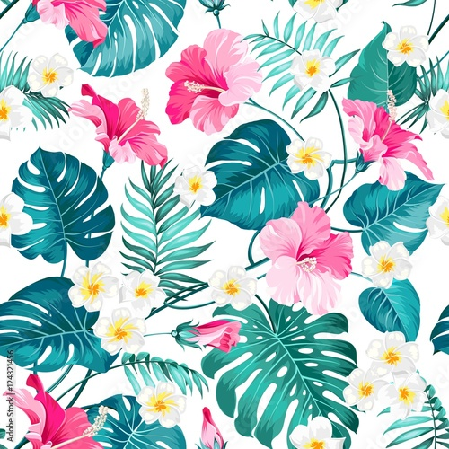 Fototapeta Tropikalne kwiaty na białym tle ścienna