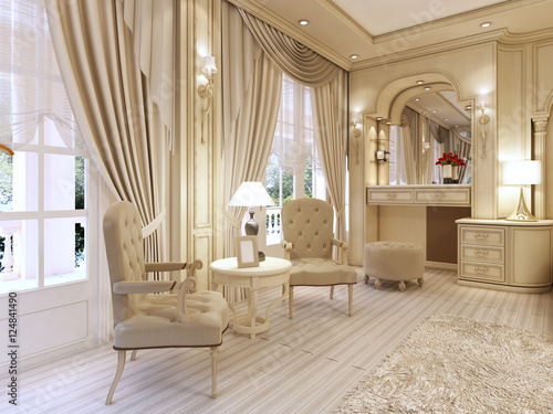 Foto Dressing table and two chairs with a table lamp in classic luxur