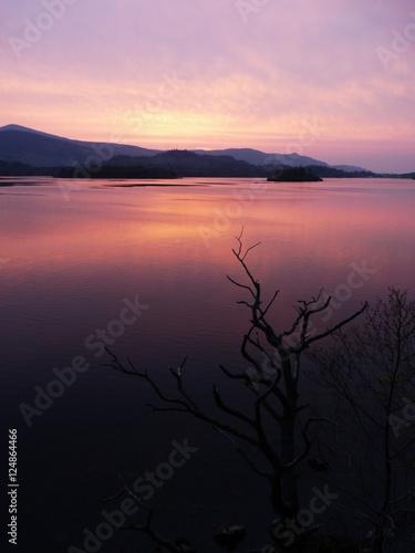 Photo Sunset over Lake Amazing Deep Colours