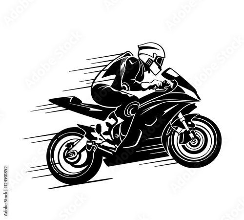Canvas Print Motorbiker at the race
