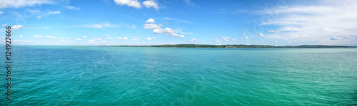 Fotografie, Obraz Wide panorama from Balaton Lake, Tihany, Hungary