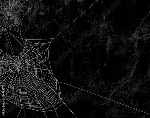 spider web against black shabby wall background Fototapeta