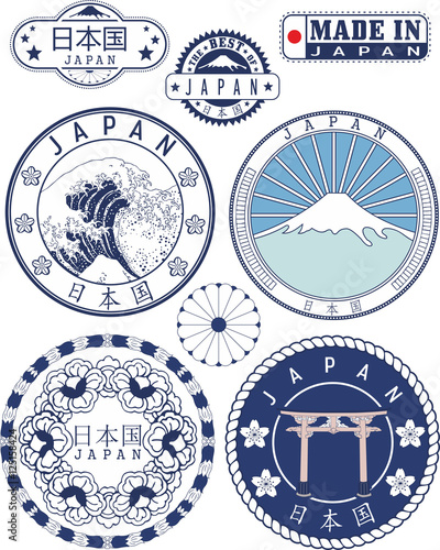 Slika na platnu Japan. Set of generic stamps and signs