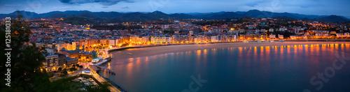 Canvas Panorama of   San Sebastian  in  night