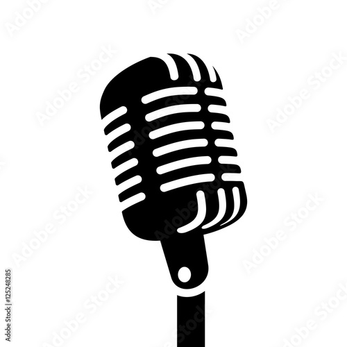 Fotografia Retro microphone vector sign