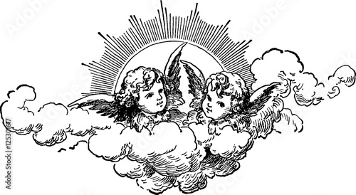 Canvas Print Vintage image angels