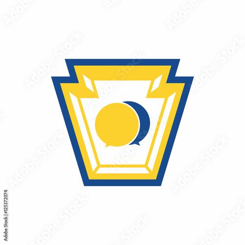 Valokuvatapetti Keystone Shape Talk - Vector Logo Icon