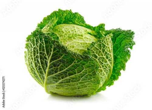 Cuadros en Lienzo Green Savoy cabbage vegetable isolated on white